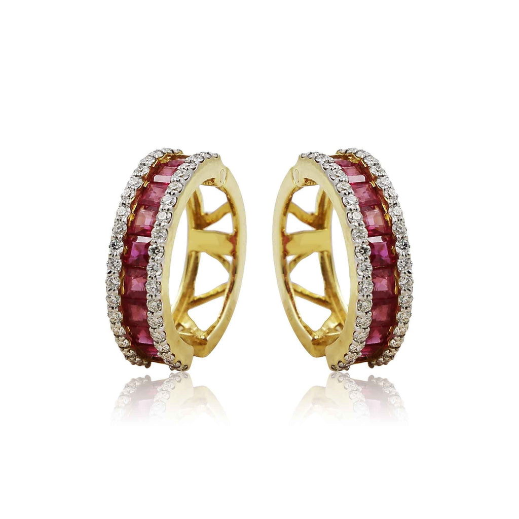 Gold with Diamond and Ruby Hoop Earrings -GTR0024 KrishnaPearlsandJewellers