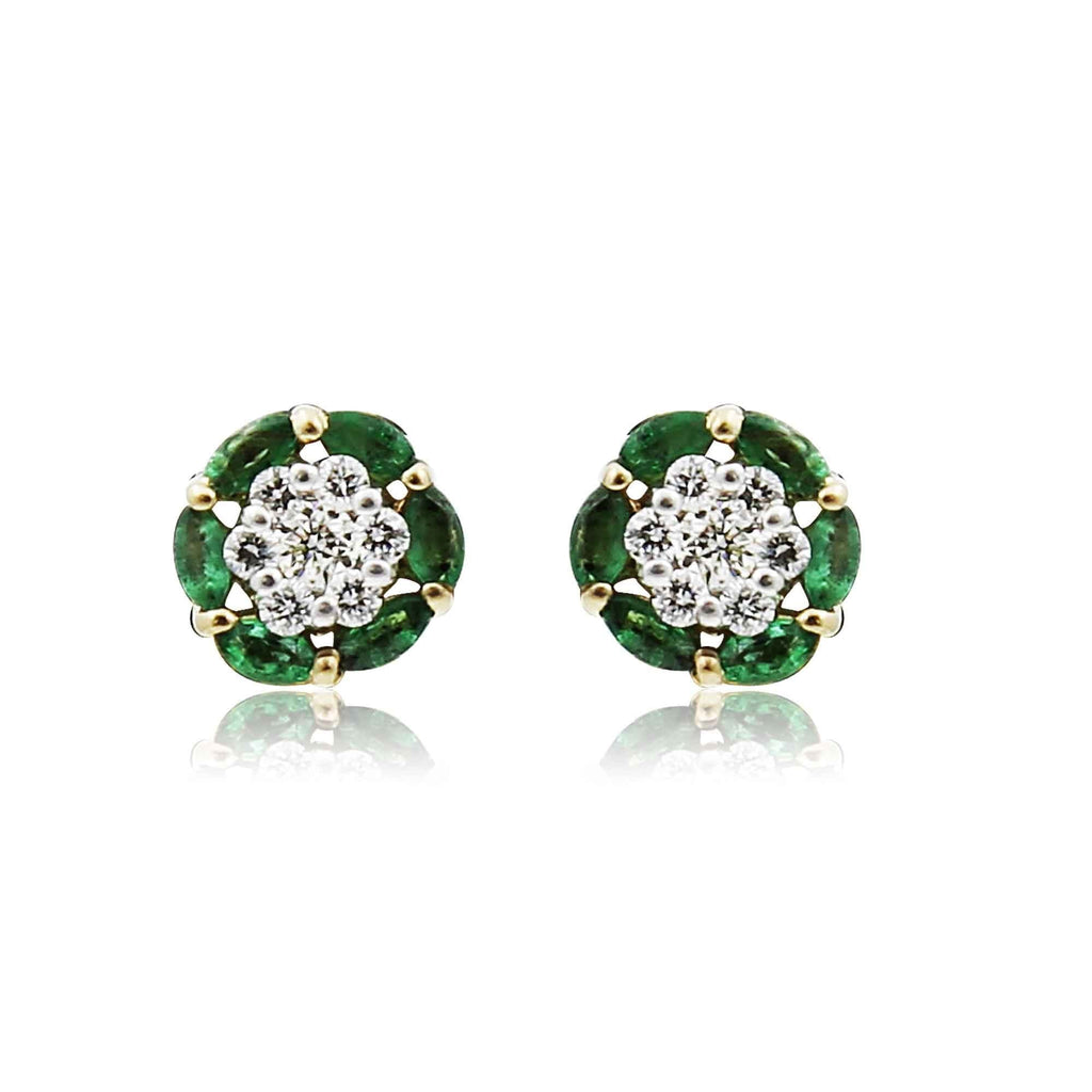 Gold with Diamond emerald cluster Earrings-GTE0210 KrishnaPearlsandJewellers