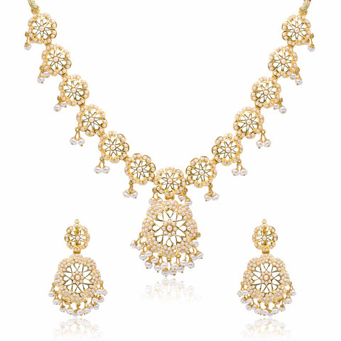 Gold with Pearl Set -GSP0333 KrishnaPearlsandJewellers