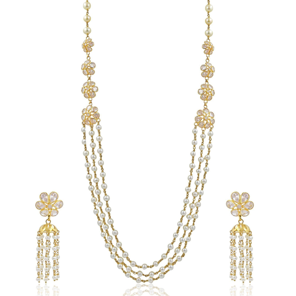 Gold with Pearl and Cz Flower Set-GHP0059 KrishnaPearlsandJewellers