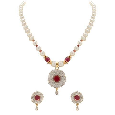 Pearl -Red Stones set -H1733