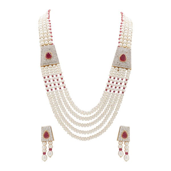 Ruby -Pearl Necklace - H2812