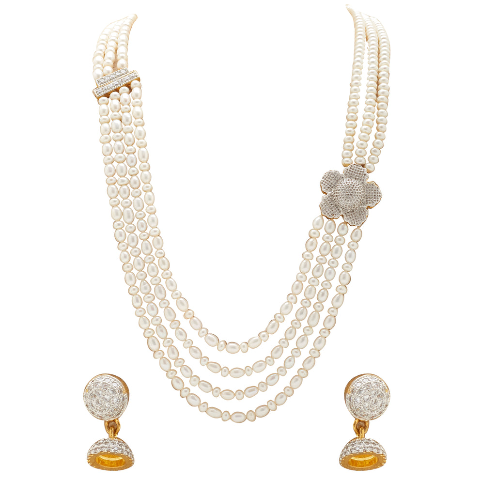 CZs Stone with Pearl Necklace - H2931
