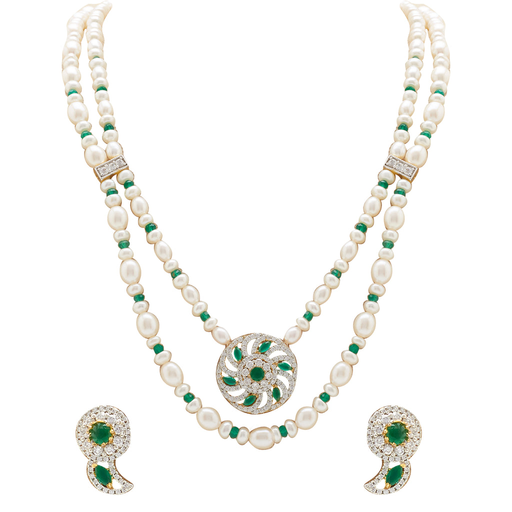 Pearl -Green Stones set -H3118