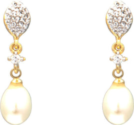 Hanging Drop Pearl Earrings Studs with CZ's-T3951 KrishnaPearlsandJewellers
