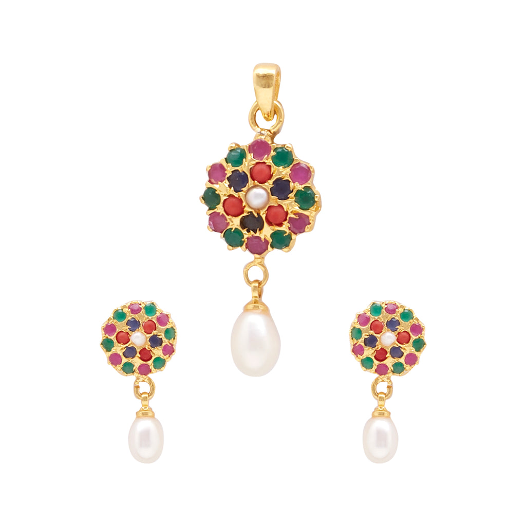 Pearls with Multi Stone - Pendant Earrings -P0751