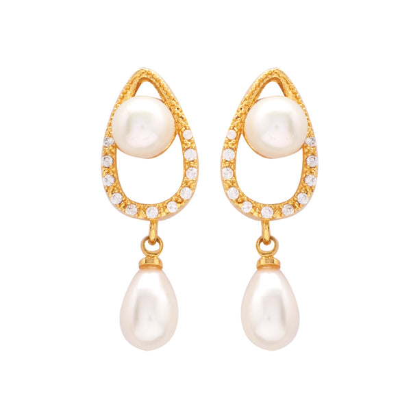 Drop Pearl Hanging CZ Stone - T0114