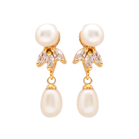 Hanging Drop Pearl Earrings Studs with CZ's-T0291
