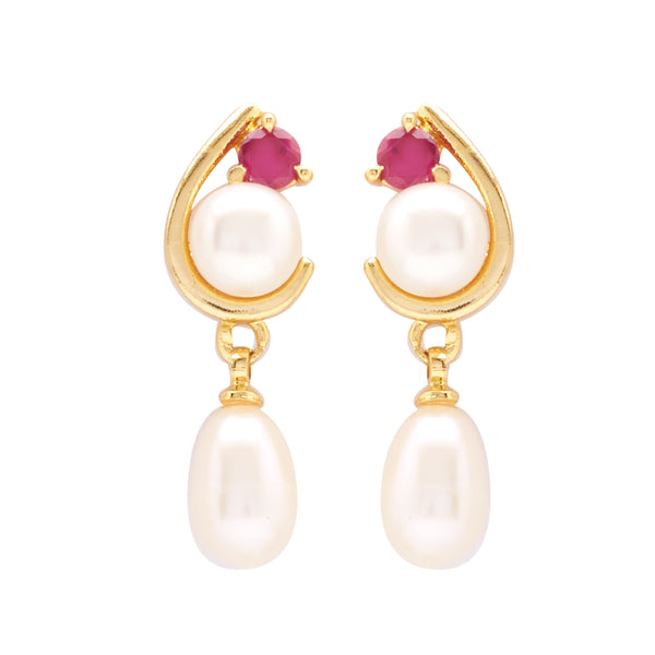 Hanging Drop Pearl Earrings Studs with Stone's-T0769