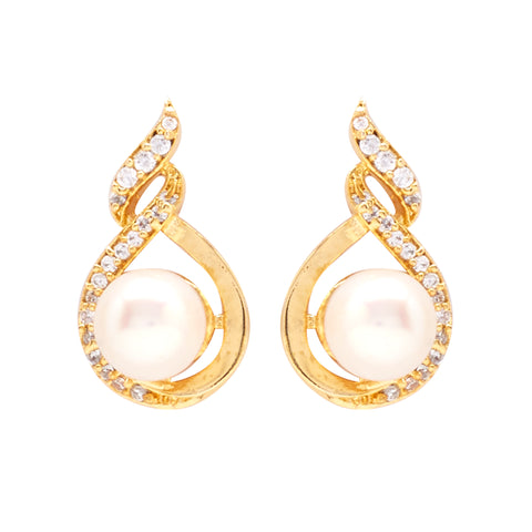Round Pearl Hanging with CZ Earrings -T0785