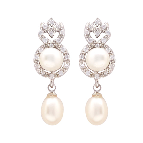 Pearl with Cz | Earrings -T0943