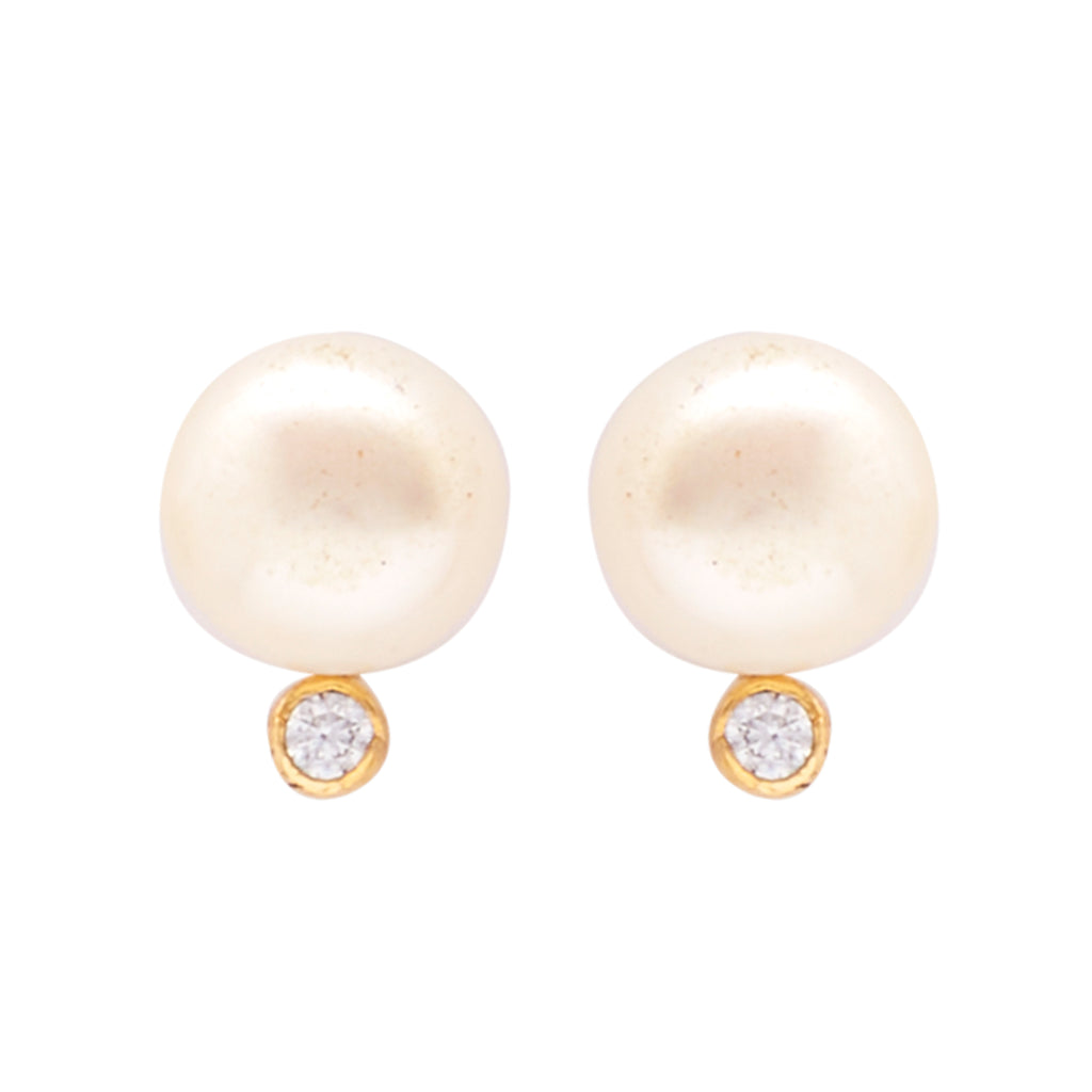 Round Pearl Hanging CZ Stone - T1136