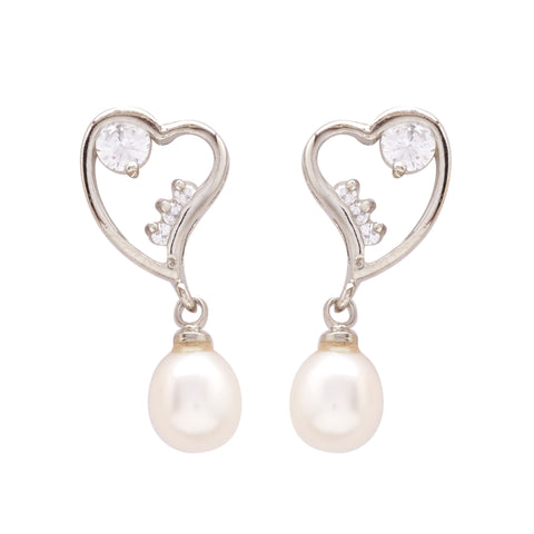 Pearl with Cz | Earrings -T1413