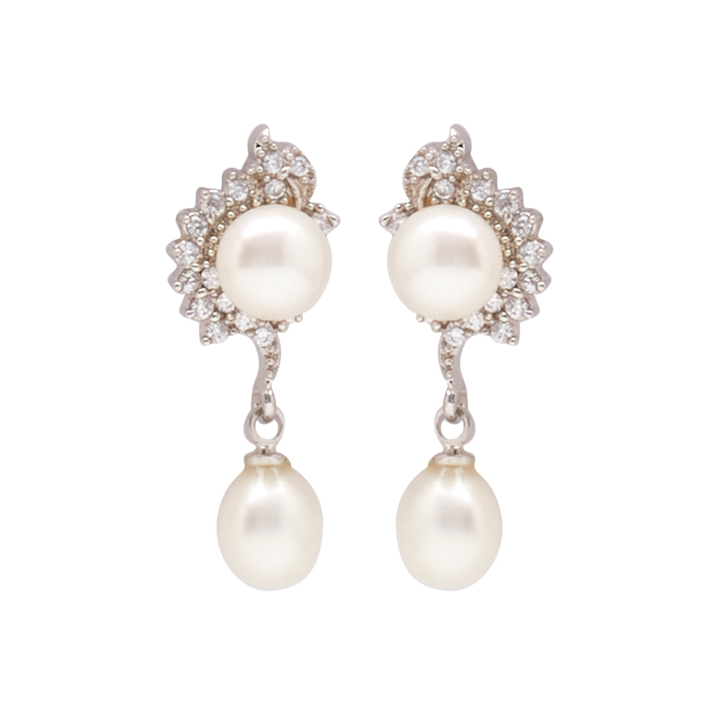 Pearl with Cz | Earrings -T1519