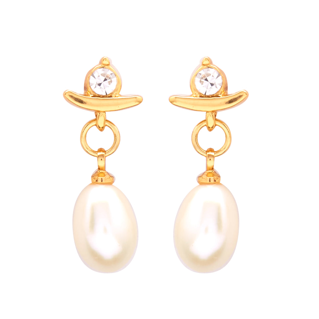 Hanging Drop Pearl Earrings Studs with CZ's-T1534