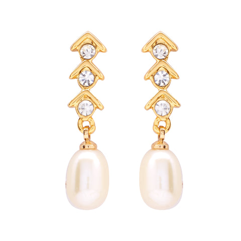 Rice Pearl Hanging with CZ Earrings -T1539