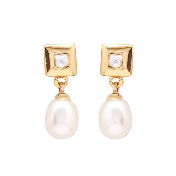 Hanging Drop Pearl Earrings Studs with CZ's-T1540