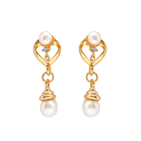 Round Pearl Hanging CZ Stone - T1541