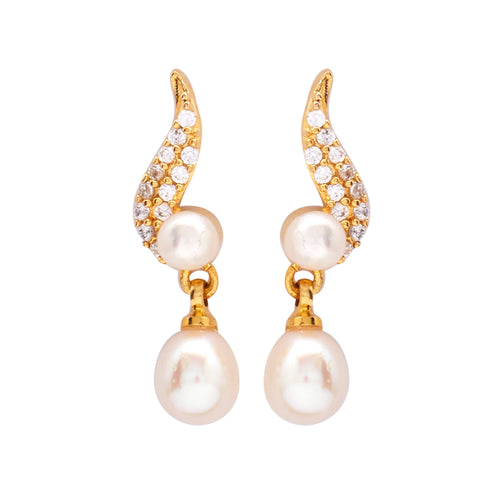 Round Pearl Hanging CZ Stone - T3098