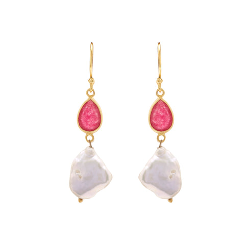 Hanging Mother Pearl Earrings Studs with Red Stone's-T3951