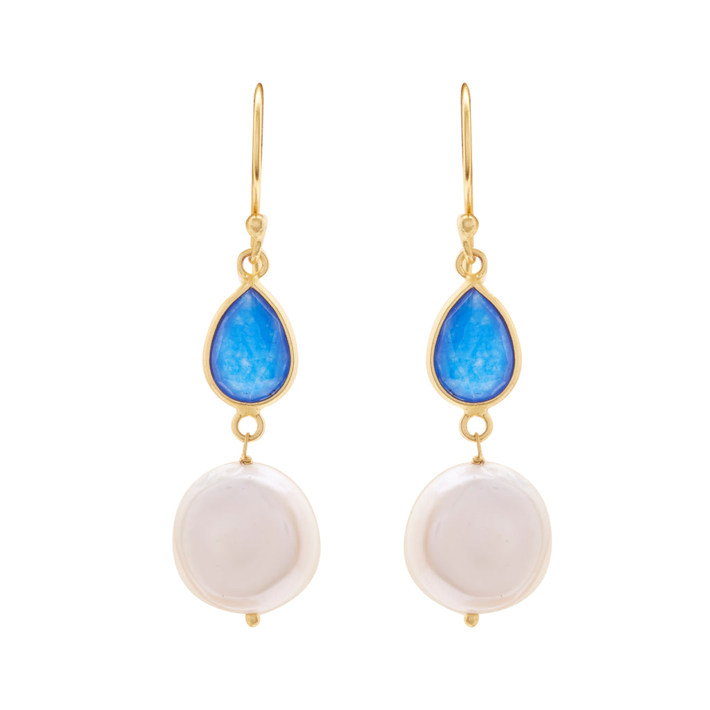 Hanging Flat Pearl Earrings Studs with Blue Stone -T3542