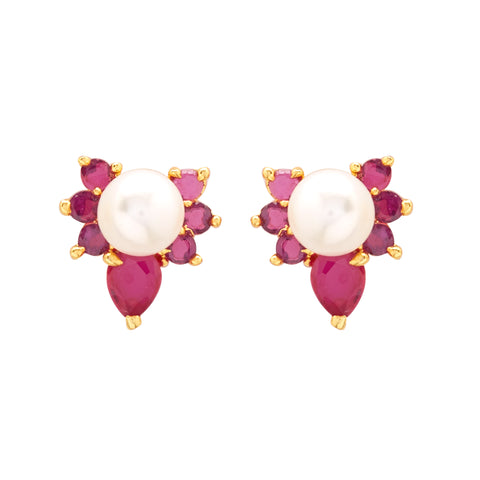 Pearl Earrings Studs with Red Stone-T3933