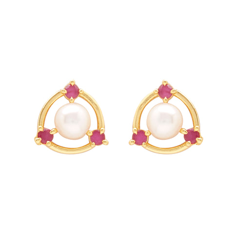 Pearl Earrings Studs with Stone's-T3935