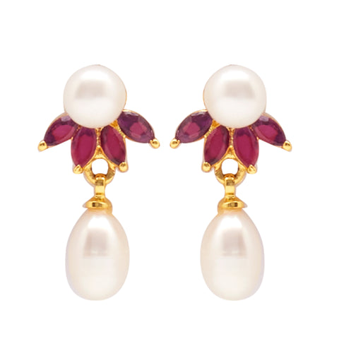 Hanging Drop Pearl Earrings Studs with Red Stone's-T3936