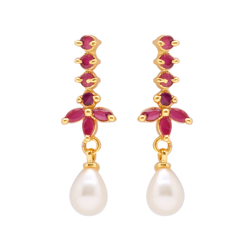 Hanging Drop Pearl Earrings Studs with Red Stone's-T3937