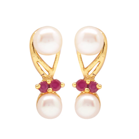 Hanging Button Pearl Earrings Studs with Red Stone's-T3939