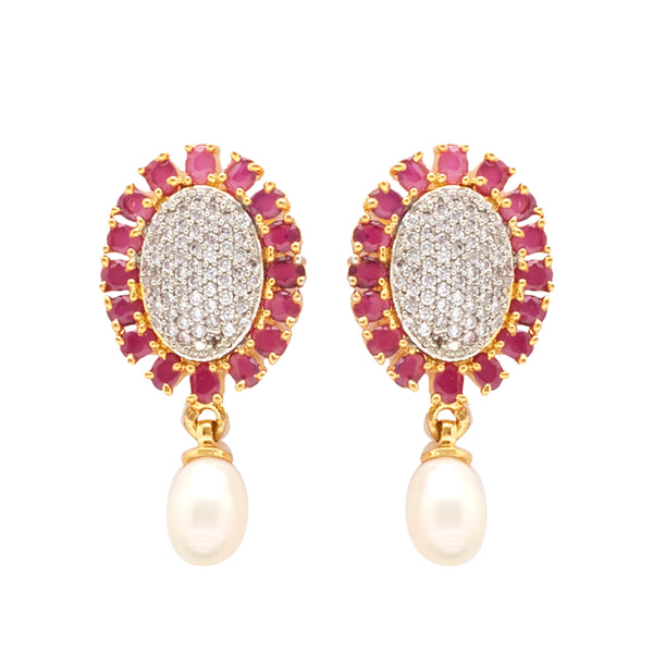 Hanging Drop Pearl Earrings Studs with CZ's-T3962