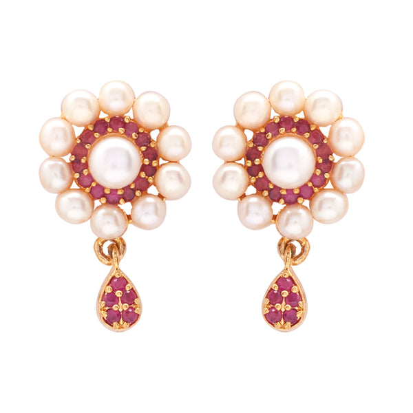 Hanging Earrings Studs with Pearl & Red Stone's-T3964