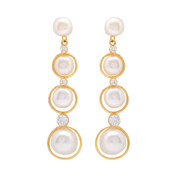 Round Pearl Hanging CZ Stone - T3976
