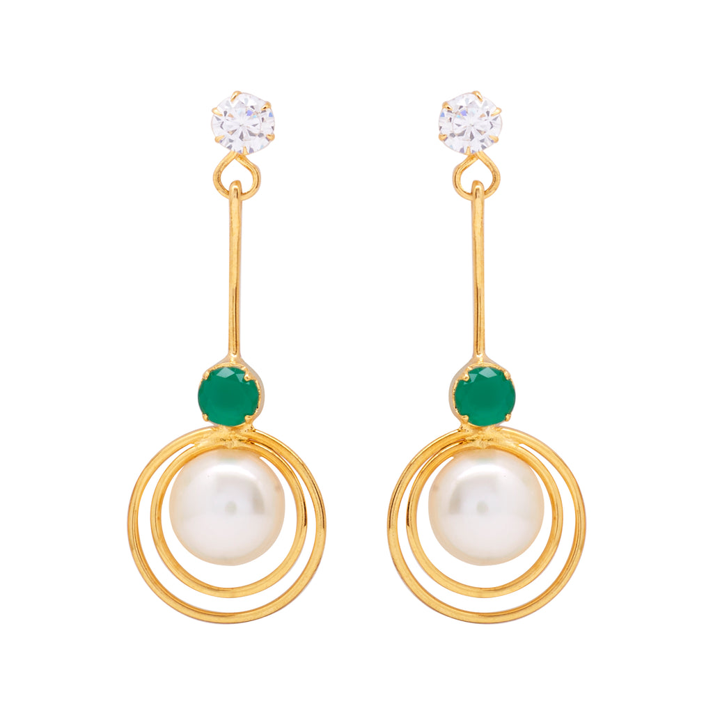 Hanging Drop Pearl Earrings Studs with Green Stone & CZs-T3981