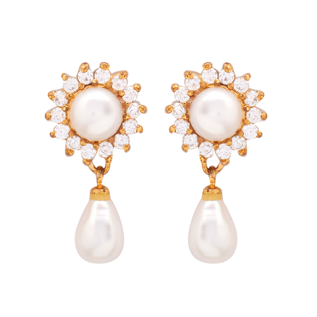 Round Pearl Hanging with CZ Earrings -T3985
