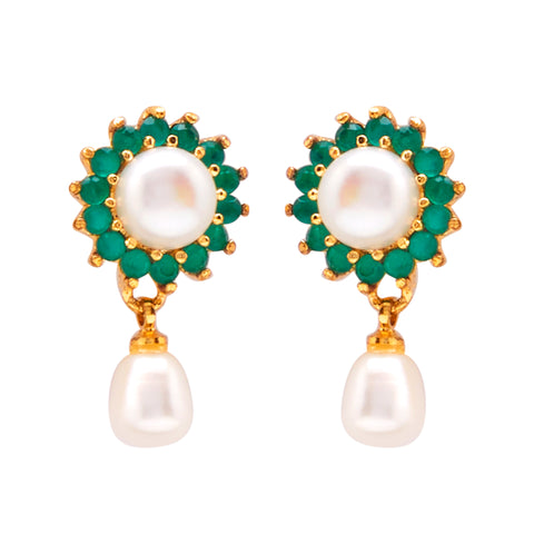 Hanging Drop Pearl Earrings Studs with Green Stone's-T3986