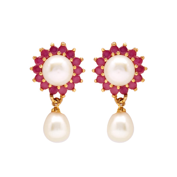 Hanging Drop Pearl Earrings Studs with Red Stone-T3986