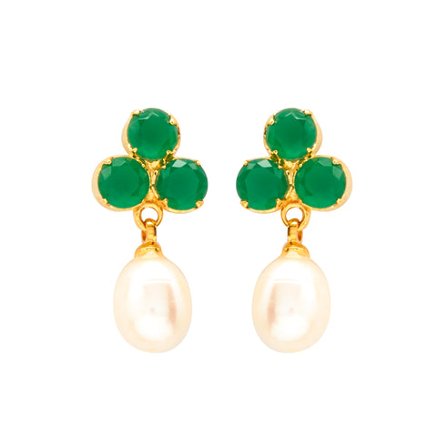 Hanging Drop Pearl Earrings Studs with CZ's-T3989
