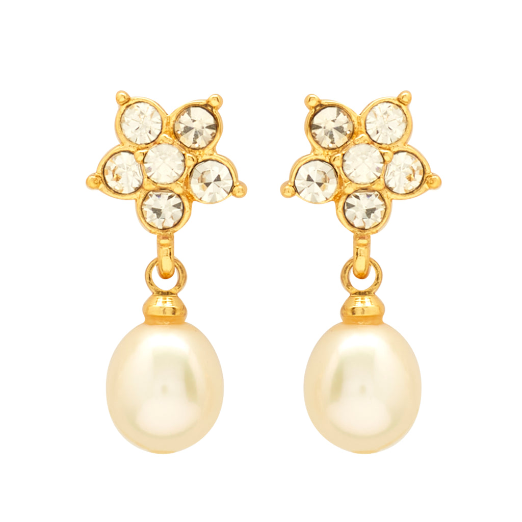 Round Pearl Hanging with CZ Earrings -T4135