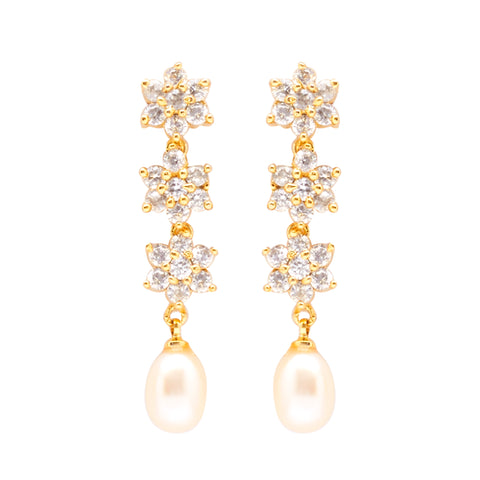 Round Pearl Hanging with CZ Earrings -T4201