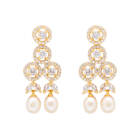 Round Pearl Hanging CZ Stone - T4204