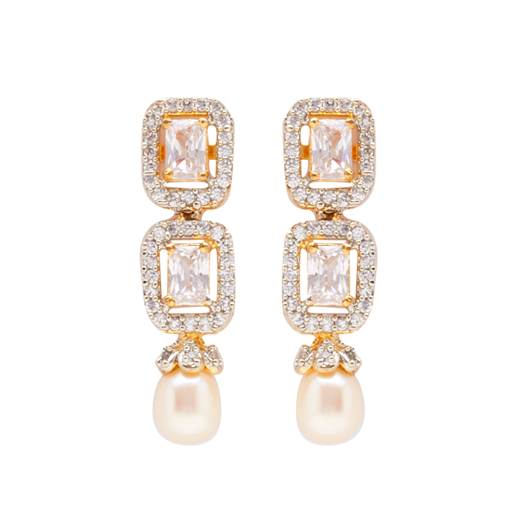 Oval Pearl Hanging CZ Stone - T4206
