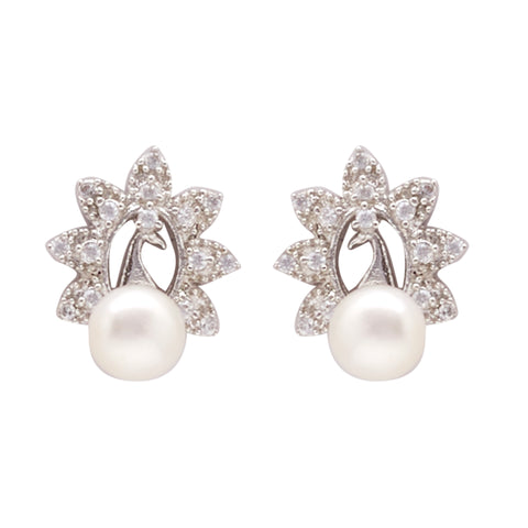 Pearl with Cz | Earrings -T4230