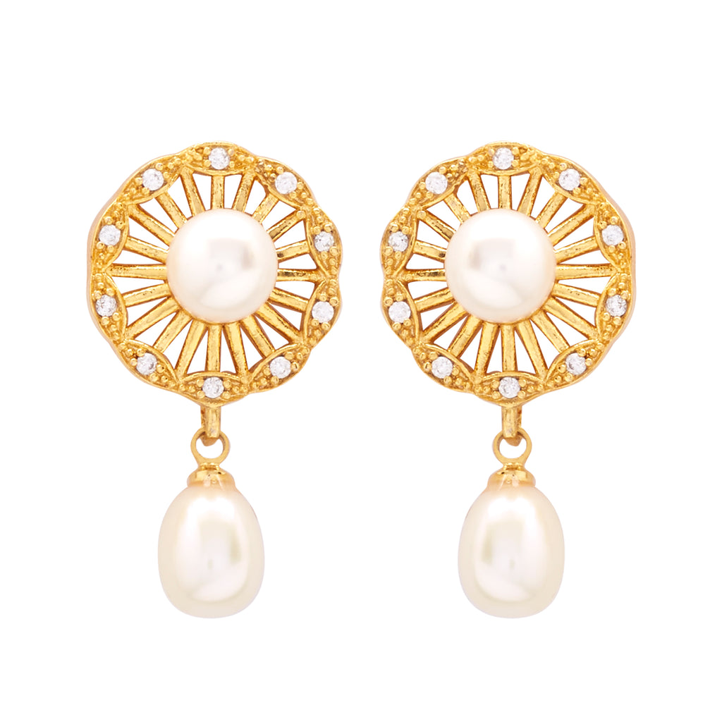 Round Pearl Hanging CZ Stone - T4231