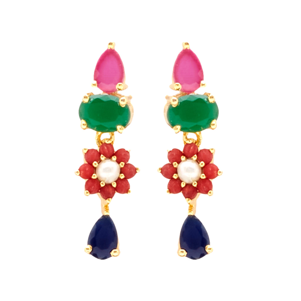 Hanging Earrings Studs with Multi Stone's-T4273