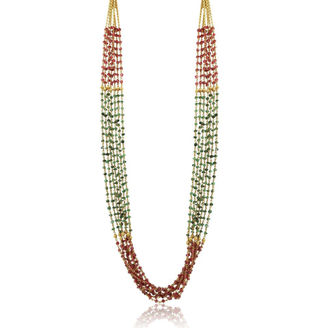 Multi Line Gold Long Chain with Ruby & Emerald beads-GCMS111 KrishnaPearlsandJewellers