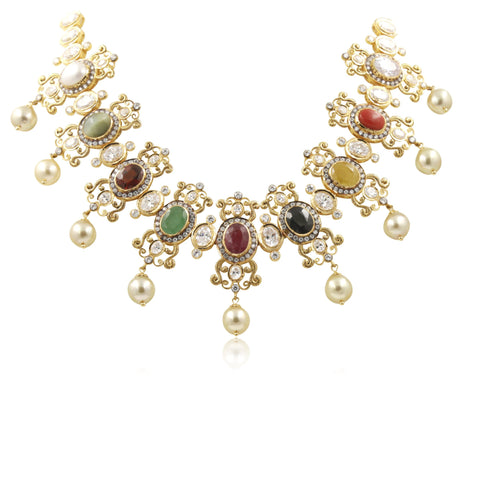 Multistone -gold -pearl -necklace -PGN0668 KrishnaPearlsandJewellers