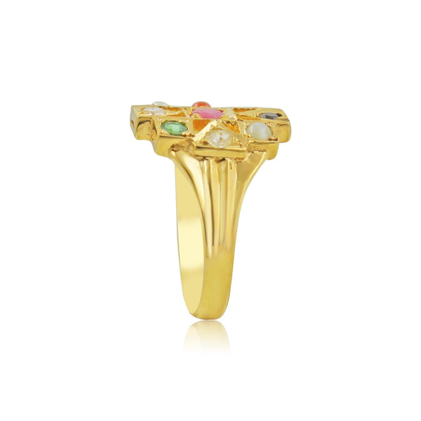 Navaratna Men's Ring in Gold-GRMS009 KrishnaPearlsandJewellers