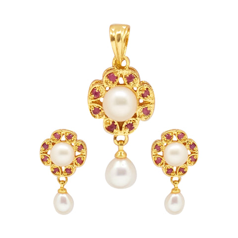 Button Pearls - Pendant Earrings -P0337