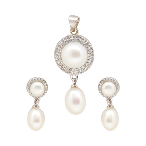 Button Pearls - Pendant Earrings -P0948
